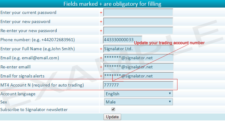 Edit autotrader account number