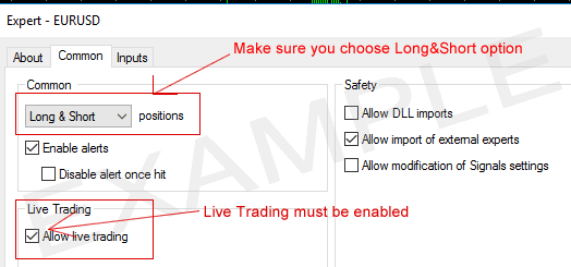 Metatrader MT4 common tab