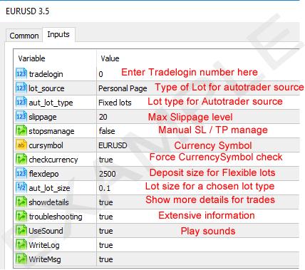 Metatrader MT5 inputs tab